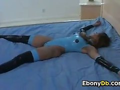 Ebony Slut In A Latex Outfit