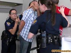 Assfucked femdom cfnm police officers taste cum