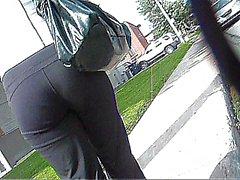 Voyeur Yoga pants walking on street