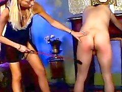 Blonde Femdom Spanking Guy Ass
