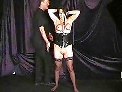 Extreme mature slave girls hooded breast bondage