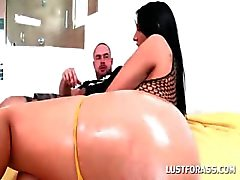Bitchy brunette in round butt gets oil massaged