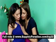 Sensual brunette lesbos licking and fingering pussy and having lesbos sex
