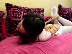Japanese in white pantyhose bondage