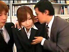 Sexy Asian secretary has two boys fulfilling her needs in t