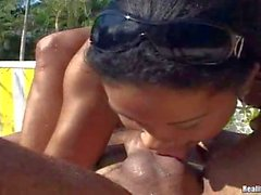 Tanned latina gets licked by the pool