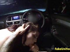 British beauty giving head in cop car