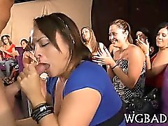 Horny darlings are deligthing stud with wet oral job