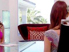 Ginger gets multi handed massage on the swinger house