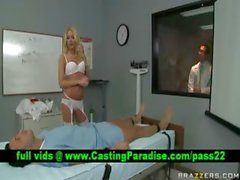 Riley Evans blonde doctor teasing a guy