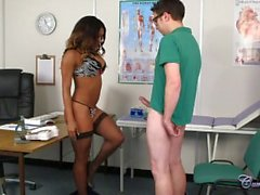 Hot ebony nurse facial test