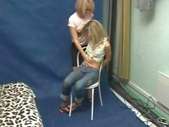 Cute blonde Russian girl is really ticklish