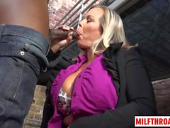 Big tits milf ball licking and cum in mouth