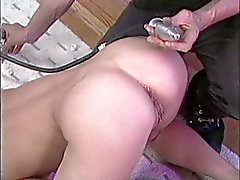 Brunette ass pumped with machine