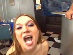 Cassandra Calogera busty girl gets a blowjob gangbang