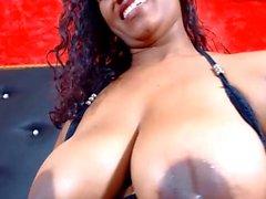 Big black milk filled dark nipple tits rubbed