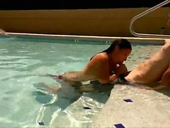 Getting his Cock Sucked Off in the Pool