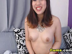 Curvy Asian Babe Rubs Pussy and Fucks Ass with Dildo