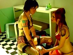 Tattooed lesbians eager to taste each others pussies