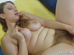 Breasty unshaved sweetheart Cara copulates herself hard and unfathomable with a sex toy menacing-threatening PornDoe