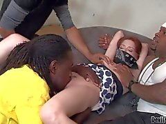 Pale redhead Jessi Palmer has interracial gang bang