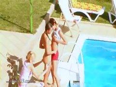 Three teens secret fucking by the pool