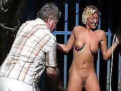 Outdoor whipping of blonde wife