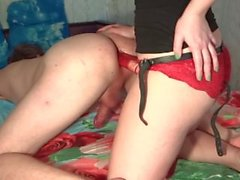 Anal training for my hubby with huge strapon dildo