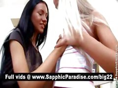 Lovely blonde and brunette lesbians kisisng and licking nipples and having lesbian love