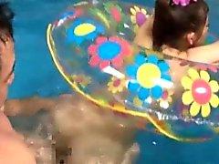 Bored oriental fucking in the pool
