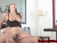 Office beauty rides cock