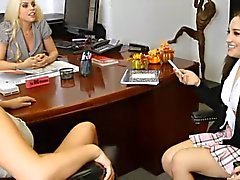 Hot Office Lesbian Threesome