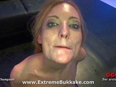 Beautiful blondie Kitty wants all their juices in her mouth