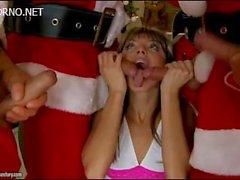 Four Santa Claus rigidly fuck young girl