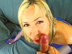 Blonde slut in black lingerie gives sexy blowjob