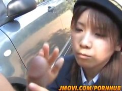 Naughty Asian police person Momo Aizawa gives arousing blowjob in public