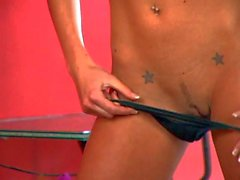 Lovely slim blonde Lux Kassidy loses her thong panties