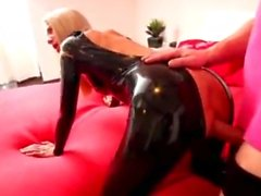 Blonde Slut Fucks Several Guys In Very Shiny Tight Black Lat