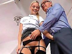 Stunning blonde eating UK large schlong on her knees