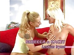 Three blonde lesbians with nice tits fuck each other with tongues and toys