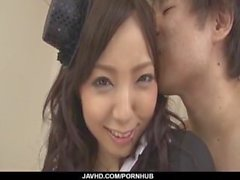 Schoolgirl, Ayane Okura, gets busy with two horny lads