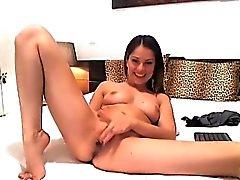 Hot Russian Brunette Fingering her Tight Cunt