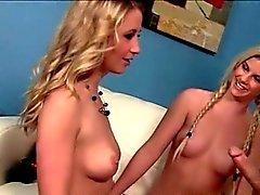 Sexy babysitter sucking dick with blonde MILF