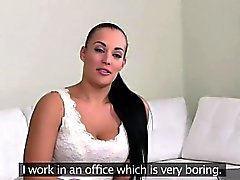 Female agent fucks gorgeous brunette babe