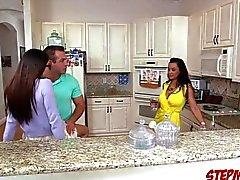 Ava swallows big dick with BFs stepmom