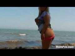 Chubby slut MILF at the beach
