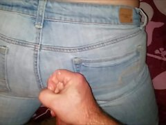 Cumload on her American Eagle jeans