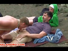 Outdoor Gay BDSM Bondage Slave on the Beach