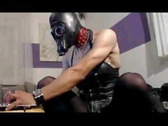 La castidad de cuero BDSM Guarra Máscara de gas, juguetes y puños