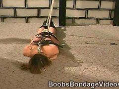 Big boobed brunette masochist hottie is tortured savagely